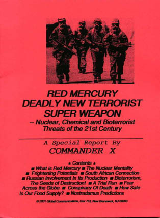 Red Mercury  By Commander X - Order Your Copy TODAY!
